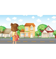 A girl with a bag across the neighborhood vector