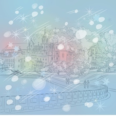 Winter christmas sketch of a old town cityscape vector