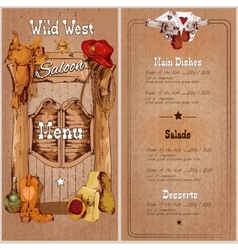 Wild west saloon menu vector