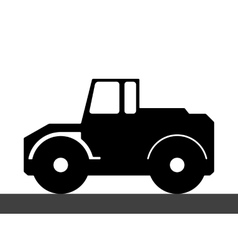 Silhouette steamroller on a white background vector