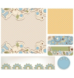 Retro wedding backgrounds floral and dots patterns vector