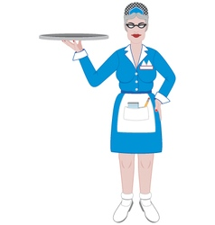 Retro older waitress with tray vector