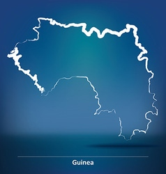 Doodle map of guinea vector