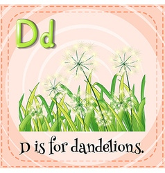 Flashcard letter d is for dandelions vector