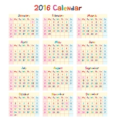 Kids hand made calendar on 2016 year vector