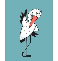 Stork bird character for kids vector