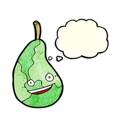 Cartoon happy pear with thought bubble vector