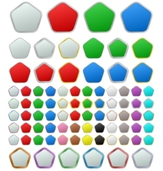 Color metallic rounded pentagon button set vector