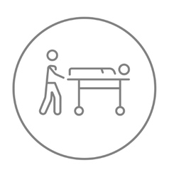 Man pushing stretchers line icon vector