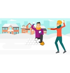 Couple playing in snowballs vector