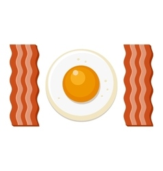 Fried egg and slices of bacon vector