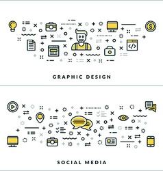 Thin line graphic design and social media concepts vector