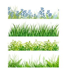 Green grass floral banner collection vector
