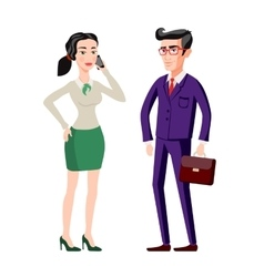 Business people man and woman consults over book vector