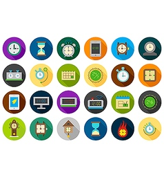 Clocks round icons set vector