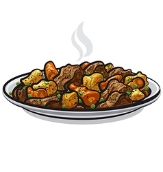 beef stew dish vector image