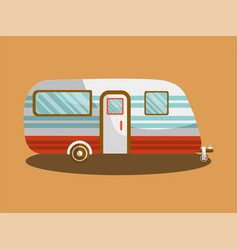 camper trail of camper bus of van vector image