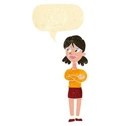 Cartoon smug woman with speech bubble vector