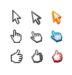 Cursors set arrow hand vector