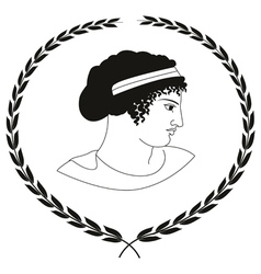 Decorative logo with head of ancient greek women vector