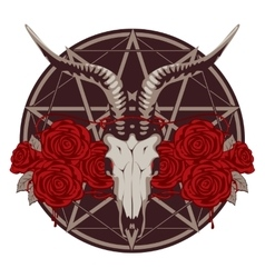 Emblem with goat skull vector