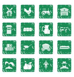 Farm icons set grunge vector
