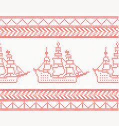 knitted ship seamless pattern in red color vector image vector image
