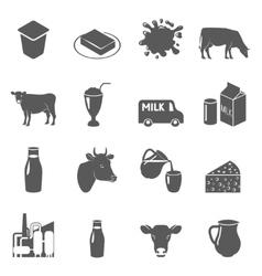 Milk black icons set vector image vector image