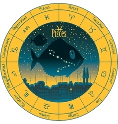 Pisces with the signs of the zodiac vector