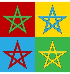 Pop art pentagram icons vector