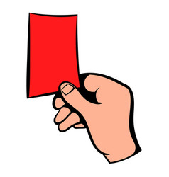 raised red card icon icon cartoon vector image vector image