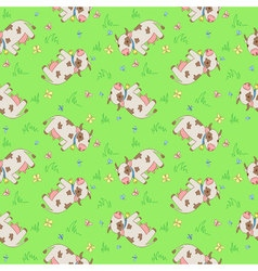 seamless pattern with cartoon styled cows vector image