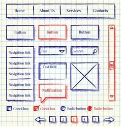 Sketch style website design kit vector image