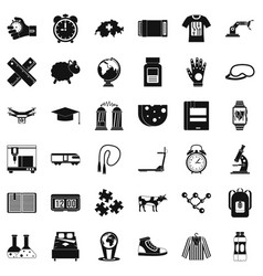 swiss science icons set simple style vector image
