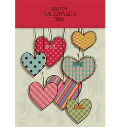 Valentines greeting card with scrapbook hearts vector image vector image