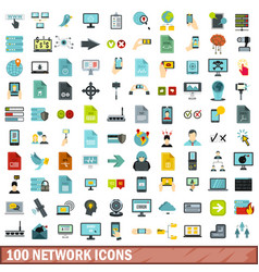100 network icons set flat style vector image