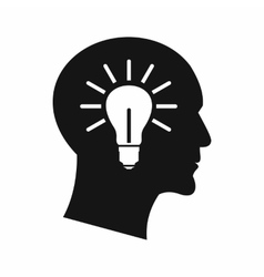 Light bulb inside head icon simple style vector