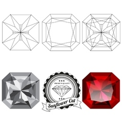Set of sunflower cut jewel views vector image