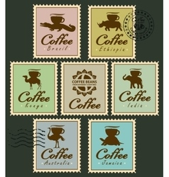 stamps with animals from coffee cup vector image