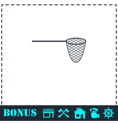 Fishing net icon flat vector