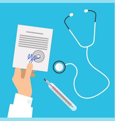 Medical stethoscope and hands holding prescription vector