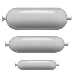 realistic template blank white sausage pack set vector image