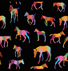 Seamless pattern with colorful foals on black vector