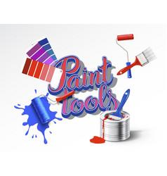 Realistick set of paint tools vector