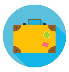 Flat travel suitcase circle icon vector
