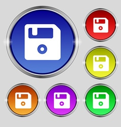 Floppy icon sign round symbol on bright colourful vector