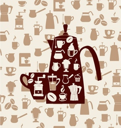 Coffee icons silhouette pattern vector