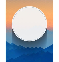 White circle on blue and orange hexagon vector