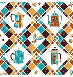 Seamless pattern argyle and coffee jugs vector