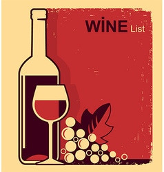 Vintage red wine list background for text vector
